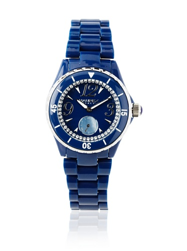 Haurex Italy Women's PB342DBS Make Up Crystal Ring Mother-Of-Pearl Subdial Blue Watch
