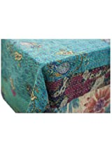 Abigails Emily Patchwork Table Cover, 60 by 60-Inch, Turquoise