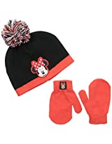 Disney Baby Girls' Minnie Mouse Beanie with Pom and Mitten Set, Multi, One Size