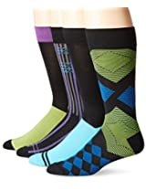 Papi Men's 4 Pack Diamond Crew Sock, Yellow/Blue, 10-13/Shoe Size 6-12