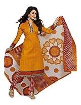 Salwar Studio Orange & Red & White Cotton Dress Material with Dupatta SHIMAYAA-1217