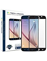 Tech Armor Samsung Galaxy S6 (NOT Galaxy S6 Edge) (Edge to Edge) HD Ballistic Glass Screen Protector (Black) - Protect from Scratches + Drops - Maximize Resale Value - 99.99% Clarity and TouchAccuracy
