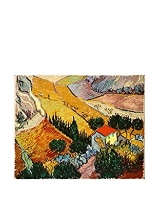 Legendarte Leinwandbild Paesaggio Con Casa E Aratore di Vincent Van Gogh