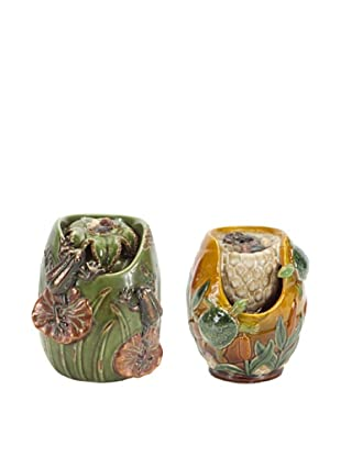 Melrose International Set of 2 Mini Tabletop Fountains with Natural Pebbles