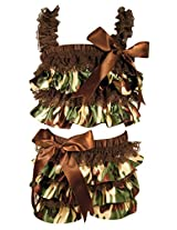Stephan Baby Ruffled Flapper Top and Diaper Cover, Camo Print, 6-12 Months