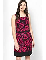 Fuschia With Fuschia Bold Floral Crepe Dress With Black Solid Hem And Sash