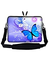 Meffort Inc 17 17.3 inch Laptop Sleeve Bag Carrying Case with Hidden Handle and Adjustable Shoulder Strap - Flyaway Butterfly Design
