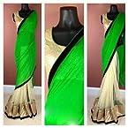 Model Half Green Half Golden Saree