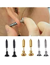 Blovess 3 Pair Men Unisex Stainless Steel Piercing Cross Screws Ear Stud Earrings