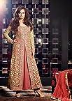 Diya Mirza in Designer Golden and Pink Color Anarkali Suit