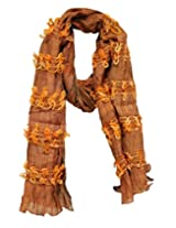 Anekaant Solid Polyester Women's Scarf (Orange)