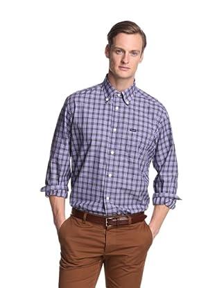 Façonnable Men's Classic Tartan Shirt (Violet)