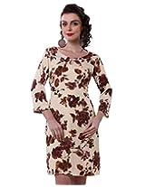 Purys Women's Bodycon Dress (E-150693SP7242_Beige Brown purple_M)