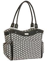Carter's Convertible Zip Front Tote Diaper Bag, Black/Beige