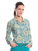 Cortefiel Camisa Estampada Cashmere (Azul / Amarillo / Gris)