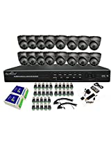 Optivision 16Channel Combo kit - 16Dome 24IR/650Tvl Sony CCD CCTV Camera(Metal Body)+16 Ch. DVR (Full D1+ HDMI)+2Pcs. 8Ch. Power Supply +BNC + DC connector(Hard Disk & Installation is not included)