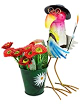 Green Girgit Metal Hen With Hat And Glasses Planter, 36 cm x 0 cm x 0.0 cm, 1 Piece
