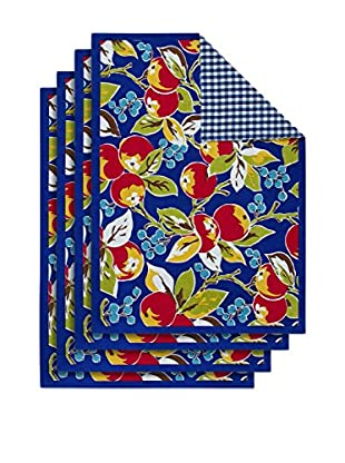 KAF Home Set of 4 Vintage Fruit Placemats, Blue