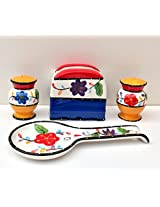 Tutti Frutti Viva Collection Hand Painted Ceramic Table Top Set, 89525/28 by ACK