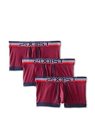 2(X)ist Men's Sail No Show Trunks - 3 Pack (Brick Red)