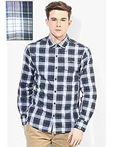 Blue Checks Slim Fit Casual Shirt Ed Hardy