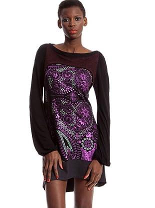 Custo Vestido Paris (Negro / Fucsia)