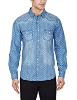 United Colors of Benetton Men's Casual Shirt (8903975015258_15A5AC61U008I901L_Large_Blue)