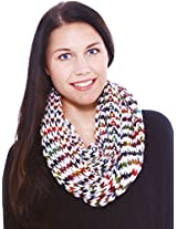 Hand Made Cowl Neck Scarf in Acrylic Material, Heavy Knit, White, Christmas Noel