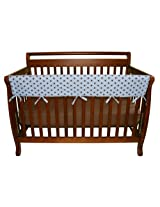 Trend Lab Cotton CribWrap Wide Rail Cover for Crib Front or Back, Blue Max Dot