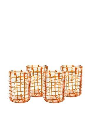 Impulse! Set of 4 Abstract Rocks Glasses, Orange