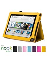 GMYLE Magnetic Flip Stand Case Cover for Barnes & Noble Nook HD+ 9 Inches Tablet - Yellow