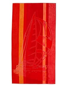 Arkhipelagos Sailboat Beach Towel (Red)