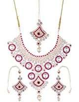 Lucky Jewellery Rani Alloy Chain Patwa Necklace Set With Maang Tikka Rose Polish for Women (1484-ISP-410-R)