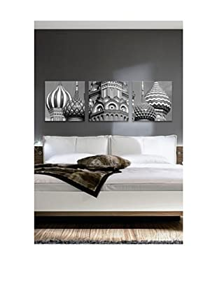 Red Square Panoramic Giclée Canvas Print Triptych