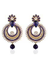I Jewels Traditional Gold Plated Chand Shaped Earrings for Women E2234Bl (Blue)