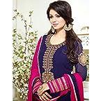 Ayesha Blue & Pink Semi-Stitched Anarkali Suit