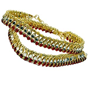 Little Kundan Golden Brass Anklet For Women (LIN - DLI3BPY102)