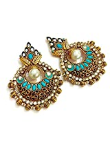 Divinique Jewelry Copper Exclusive high end turquoise Chaand bali earrings