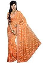 Sthri orange party wear designer georgette sari(A4Shri5042, Orange)