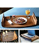 Lipper International 1164 Acacia Collection Oversized Reversible Wood Serving Tray