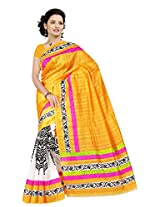 Fashion Apparel Women's Cotton Silk Saree with Blouse Piece (Yellow )