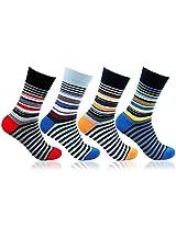 Men' s Striped Design 4 Pair Pack Cotton Socks by Bonjour_BRO1608-PO4