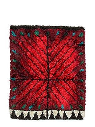 Handmade Swedish Rya Rug, Red/Black/Green, 3' 8