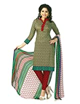 SGC Gray Crepe Printed Unstitched Churidar Kameez - (M-4284)