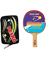 PESKO GOLD STAR Unisex Table Tennis Racquet with Cover, Standard