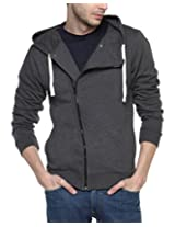 Campus Sutra Men's Cotton Cross Zip Long Hooded Wrap Jacket(AW15_ZHCRZ_M_PLN_CH_XL_Grey_)