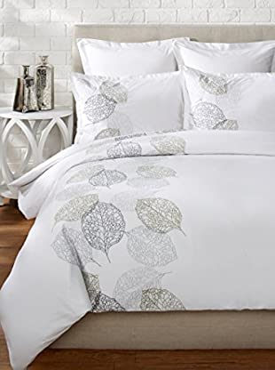 Mélange Home Turning Leaf Embroidered Duvet Set