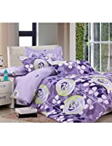Mebelkart Poly Cotton Bed Sheets with 2 pillow covers: Purple Circles