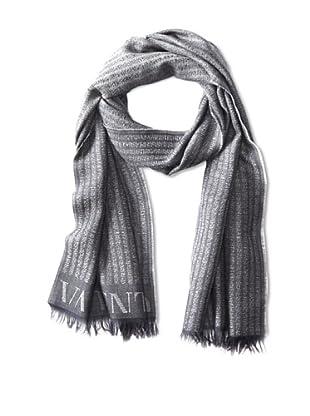 Valentino Men's Pinstripe with Logo Scarf (Grey)