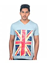 UK Tribes Men's Grey V-Neck T Shirt Small